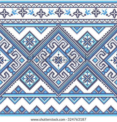 Embroidered handmade cross-stitch ethnic Ukraine pattern - stock vector