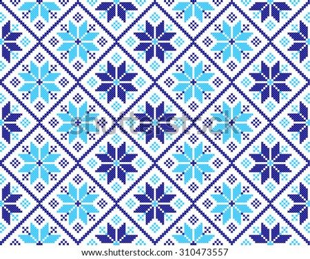 embroidered handmade cross-stitch ethnic Ukraine pattern. winter color - stock vector