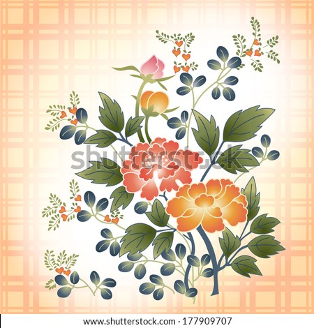 embroidered Japanese style floral bouquet on plaid fabric background - stock vector