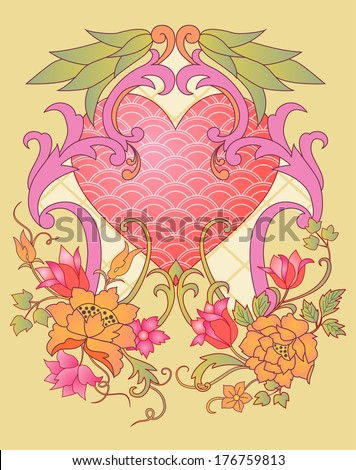 Embroidered Valentine: kimono embroidery elements with a heart symbol montage - stock vector