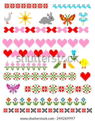 Embroidery - stock vector