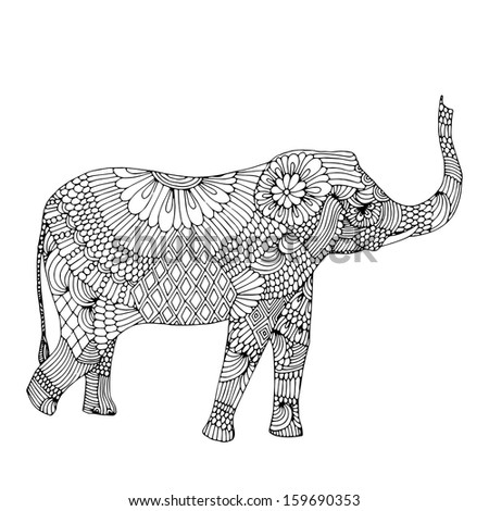 Embroidery elephant  - stock vector