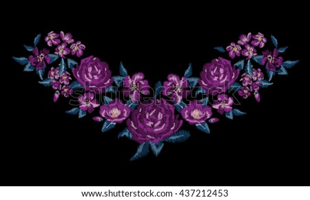 Embroidery for Fashion   Hand drawing   T-shirt Printing - stock vector