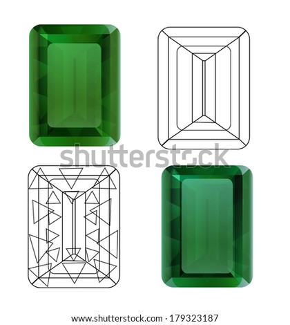 Emerald for your design - stock vector