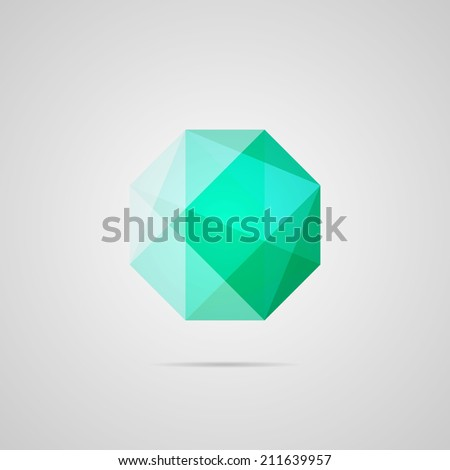 Emerald illustration. Octagon. Green gem multiply icon. Bright gemstone, with shadow. Use for card, poster, brochure, banner, web. Easy to edit. Vector illustration - EPS10. - stock vector