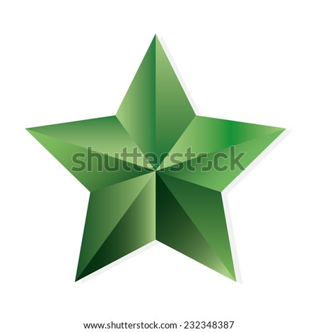 Emerald star. Vector, isolated object on white background - stock vector