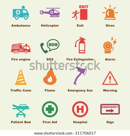 emergency elements, vector infographic icons - stock vector