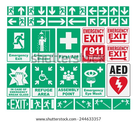 Emergency Evacuations Sings - stock vector