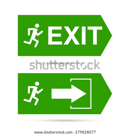 Emergency exit sign.  Running man on a green background. vector. Outline, minimal - stock vector