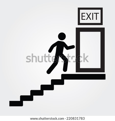 Emergency fire exit door and exit door,exit fire vector - stock vector