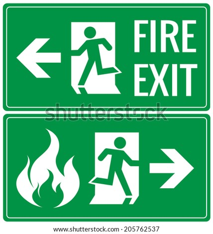 Emergency fire exit door signs vector - stock vector
