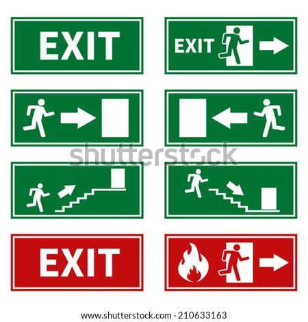 Emergency Fire Exit Signs - stock vector