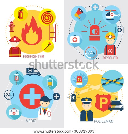 Emergency, Firefighter, Rescuer, Medic, Policeman, Rescue, First Aid, Vehicle and Equipment - stock vector