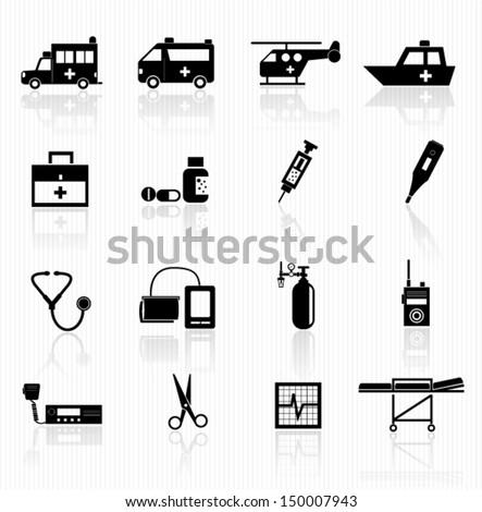 Emergency icons - stock vector