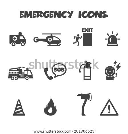emergency icons, mono vector symbols - stock vector