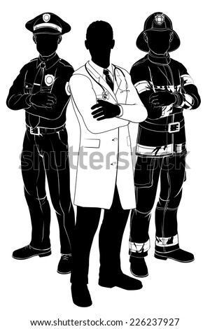 Emergency rescue services team silhouettes of a policeman or police officer, a fireman or fire-fighter and a doctor - stock vector