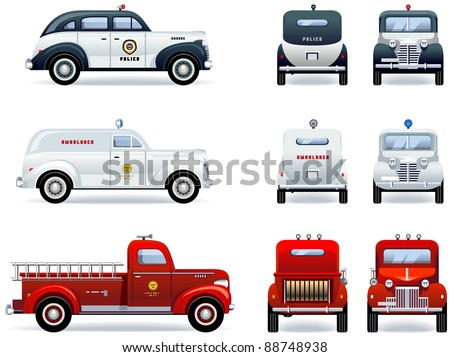Emergency services (1930-40th). Set of the car icons in vector. The shadows are in the separate layer.