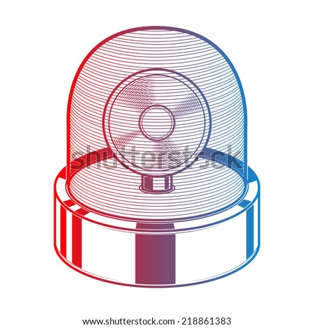 Emergency siren isolated on a white background. Gradient line art. Retro design. Vector illustration. - stock vector