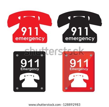 Emergency telephone over white background vector illustration - stock vector