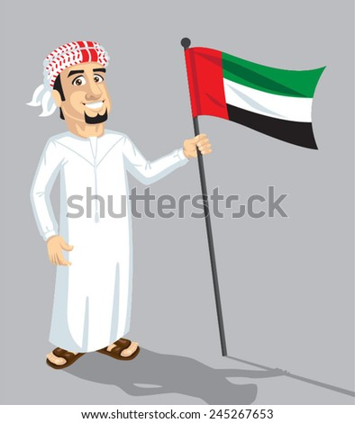 emirate man hold flag - stock vector