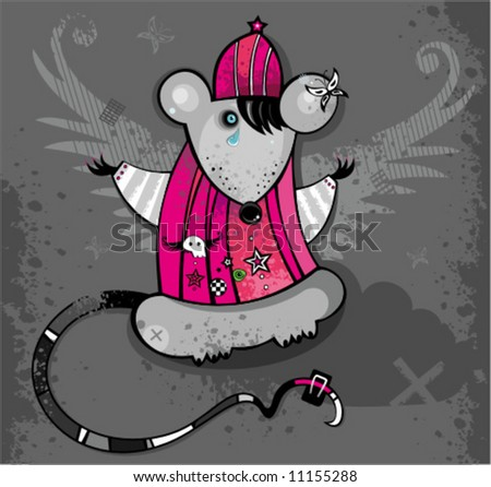 Emo Rat. To see similar, please visit my gallery - stock vector
