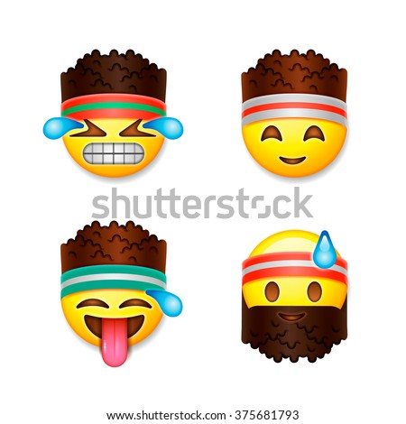Emoji smiley faces, fitness concept, vector illustration. - stock vector