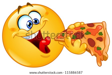 Emoticon eating pizza - stock vector