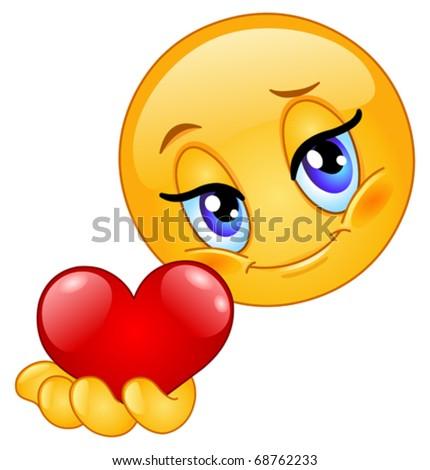 Emoticon giving heart - stock vector