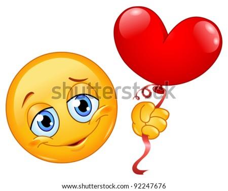 Emoticon holding a heart shape balloon - stock vector