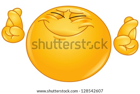 Emoticon hoping hard with crossed fingers - stock vector