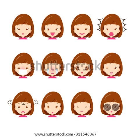 Emoticon icons set of cute girl with various emotions, emoji, facial, feeling, mood, personality, symbol - stock vector