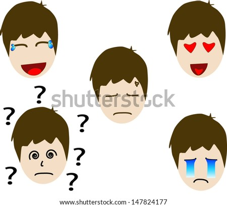 Emoticon man set. - stock vector