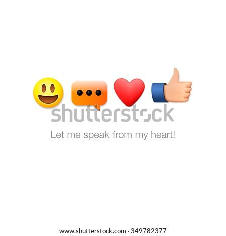 Emoticon set icons, emoji symbols, isolated on white background, vector illustration. - stock vector