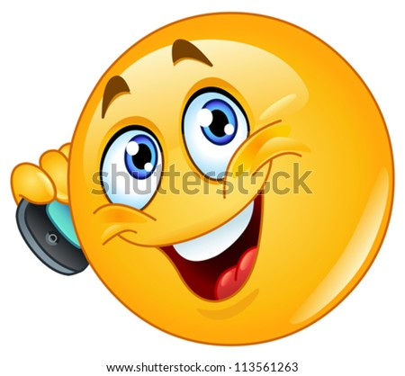Emoticon talking on cell phone - stock vector