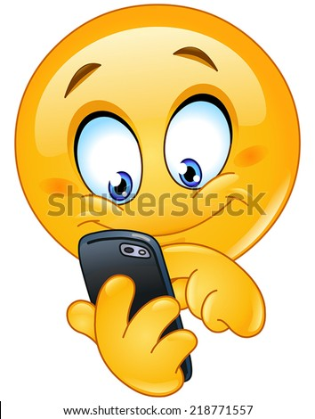 Emoticon using mobile smart phone - stock vector
