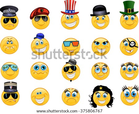 Emoticon Vector style smile face icons - stock vector