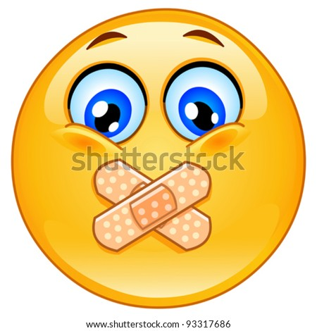 Emoticon with adhesive bandages over his lips - stock vector