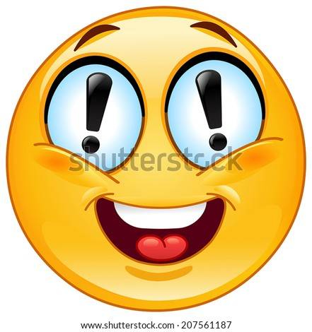 Emoticon with exclamation marks in his eyes - stock vector