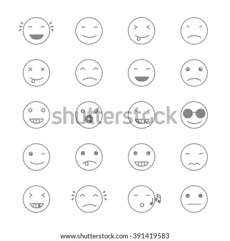 Emoticons Collection. Set of Emoji. Flat monochrome style. Different Emoticons. Vector illustration - stock vector