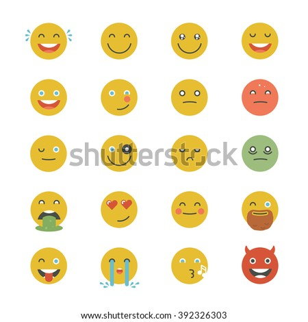 Emoticons Collection. Set of Emoji. Flat monochrome style. Different Emoticons. Vector smile face icons. - stock vector