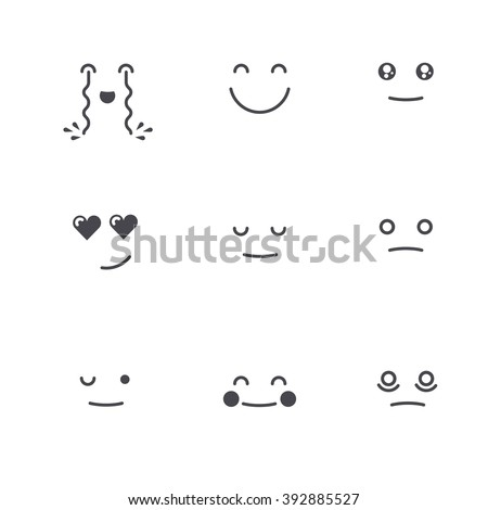 Emoticons Collection. Set of Emoji. Monochrome thin line style. Different Emoticons. Vector smile face icons. - stock vector
