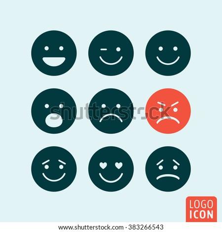 Emoticons icon. Emoticons logo. Emoticons symbol. Set emoji icons isolated, minimal design. Vector illustration - stock vector