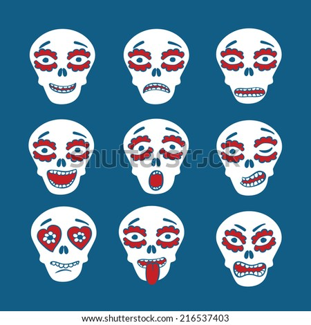 Emoticons of mexican skulls - calaveras,  with colorful expressions, flat style  - stock vector
