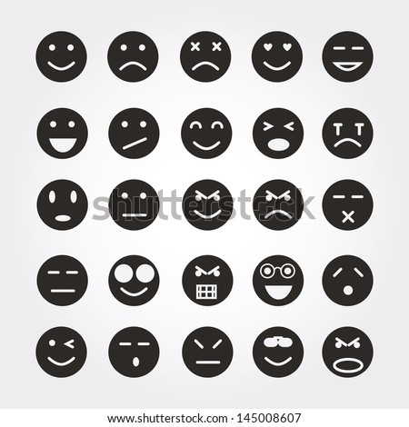 emotion face icons - stock vector