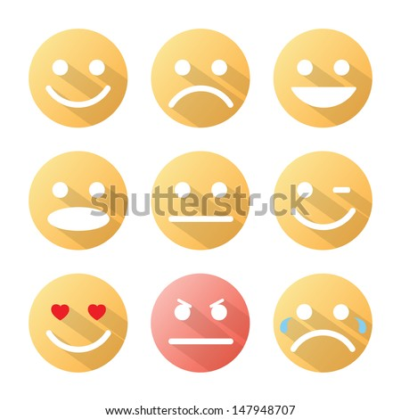 Emotion icons set with shadow on white background. Vector illustration. - stock vector