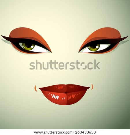 Emotional expression on the face of a cute girl. Beautiful sexy and tricky woman with a modern makeup. - stock vector