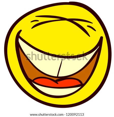 Emotional funny smiley. Done in comic doodle style. - stock vector