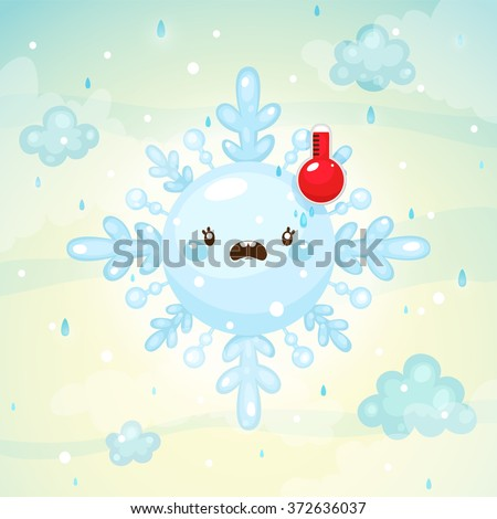 Emotional weather, melted snowflake with thermometer, high temperature, children's illustration, cartoon style, vector. - stock vector