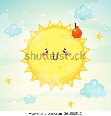 Emotional weather, thermometer with a comfortable temperature and a happy Sun, children's illustration, vector. - stock vector