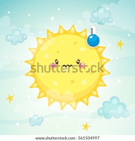 Emotional weather, thermometer with low temperature and frozen Sun, children's illustration, vector. - stock vector